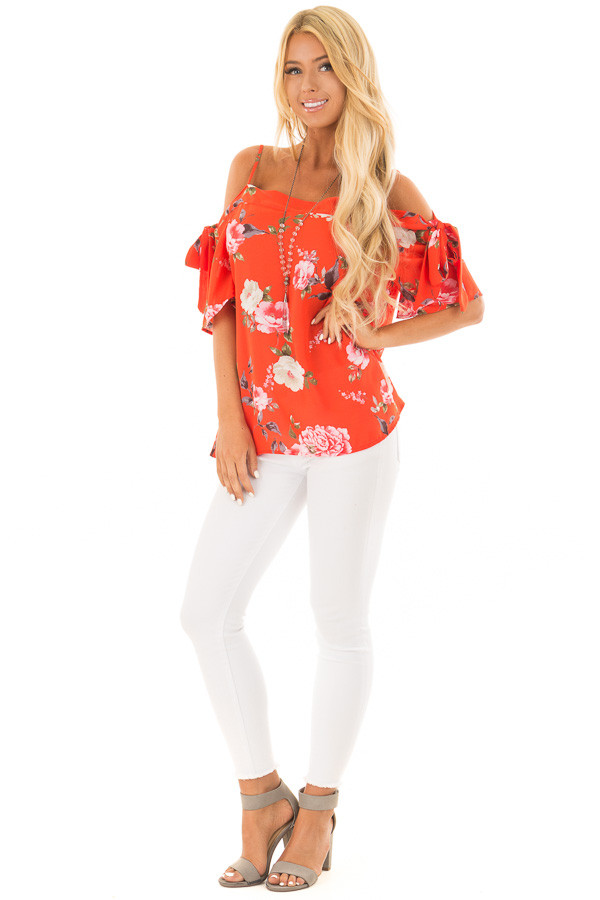 Tomato Red Floral Print Cold Shoulder Top with Tie Details front full body