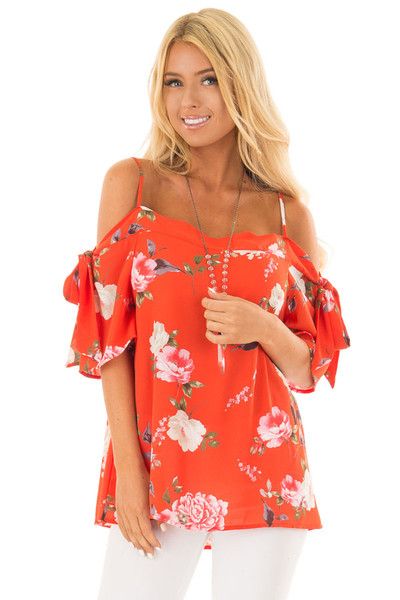 Tomato Red Floral Print Cold Shoulder Top with Tie Details front close up