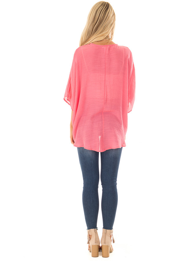 Deep Coral V Neck Top with Twisted Hem back full body