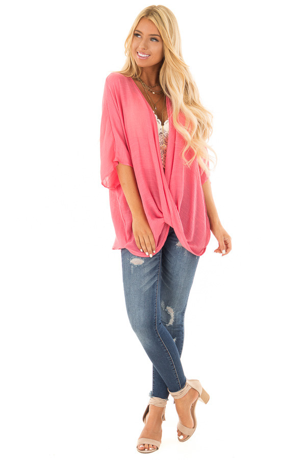 Deep Coral V Neck Top with Twisted Hem front full body
