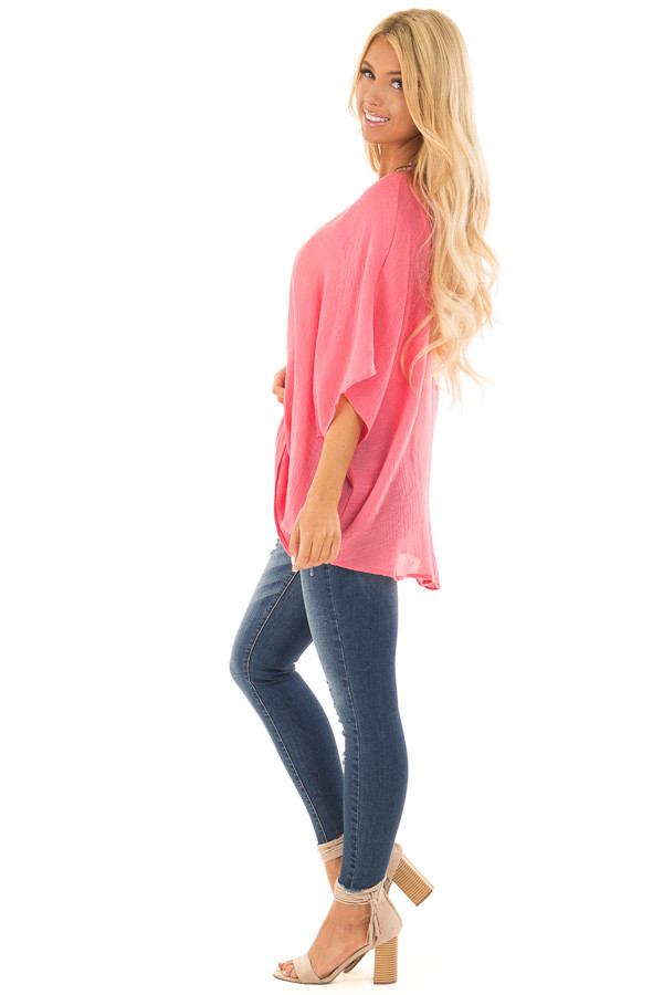 Deep Coral V Neck Top with Twisted Hem side full body