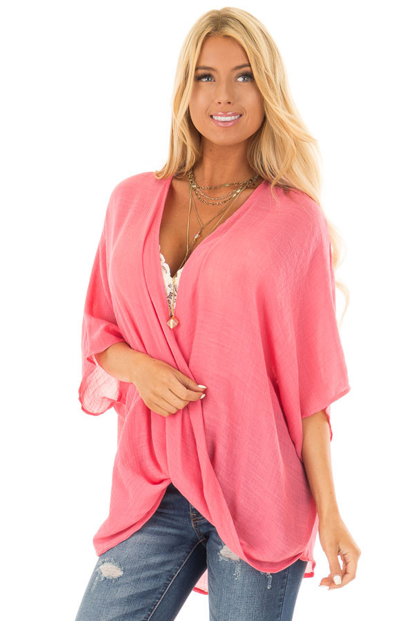 Deep Coral V Neck Top with Twisted Hem front close up
