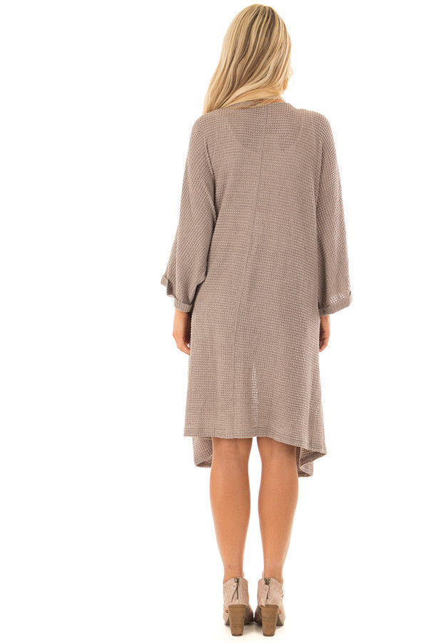 Latte Open Cardigan with Cuffed Sleeves and Pockets back full body