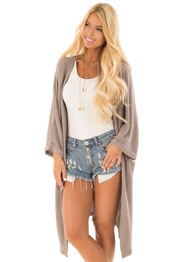 Latte Open Cardigan with Cuffed Sleeves and Pockets front close up