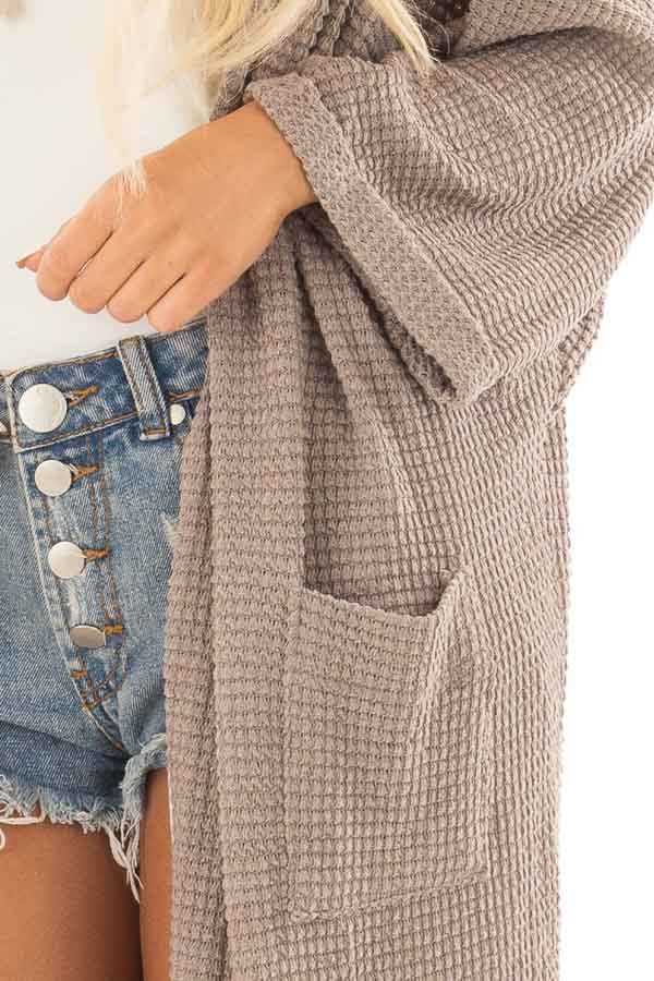 Latte Open Cardigan with Cuffed Sleeves and Pockets detail