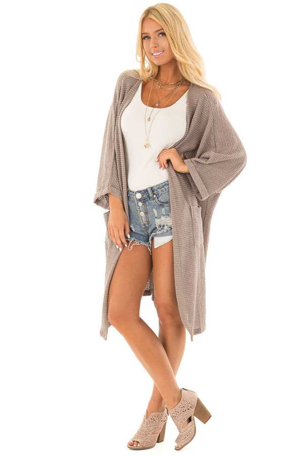 Latte Open Cardigan with Cuffed Sleeves and Pockets front full body