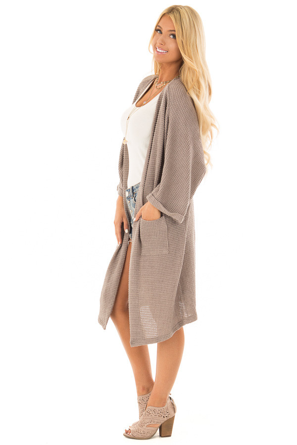 Latte Open Cardigan with Cuffed Sleeves and Pockets side full body