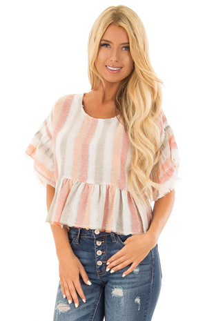 Multi Color Striped Short Sleeve Linen Top front close up