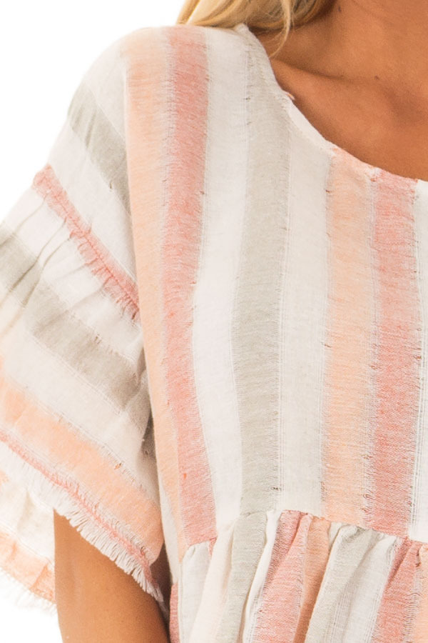 Multi Color Striped Short Sleeve Linen Top detail
