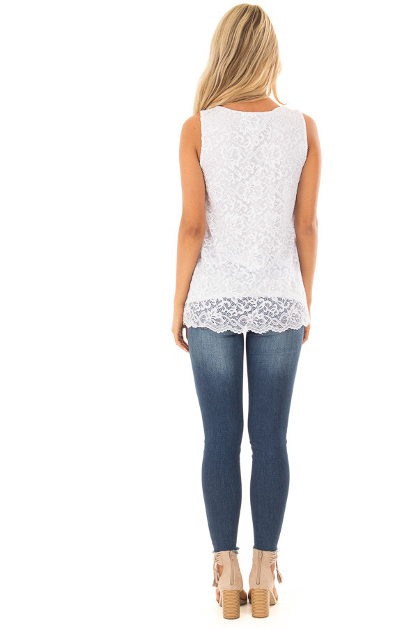 White Floral Lace Tank Top With Criss Cross V Neckline back full body
