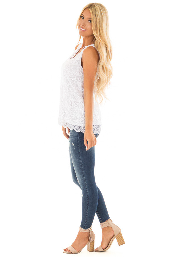 White Floral Lace Tank Top With Criss Cross V Neckline side full body