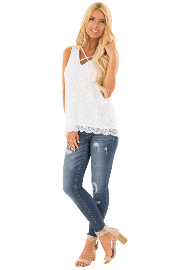 White Floral Lace Tank Top With Criss Cross V Neckline front full body