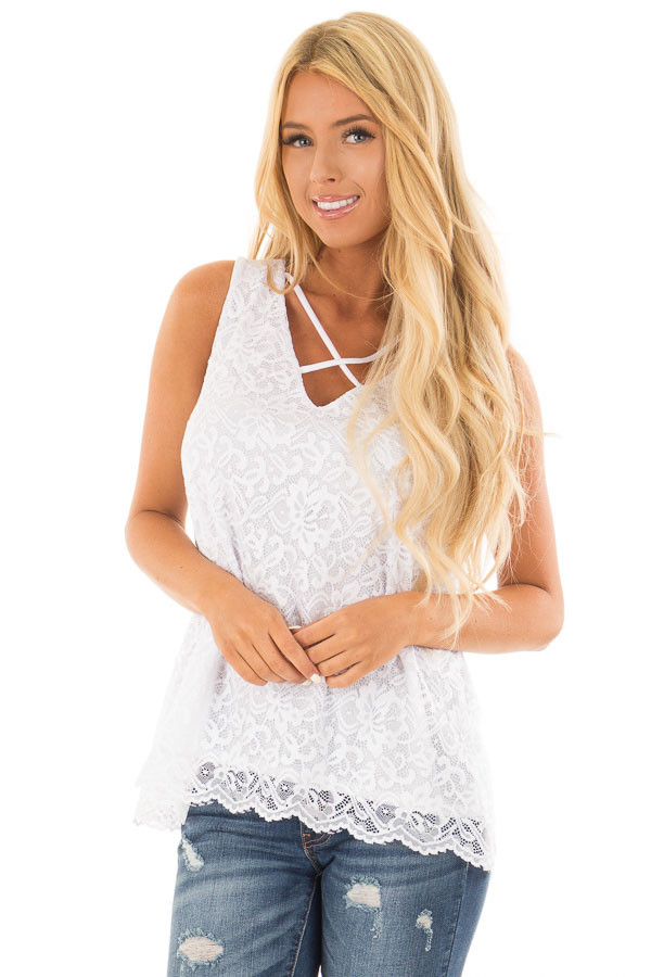 White Floral Lace Tank Top With Criss Cross V Neckline front close up