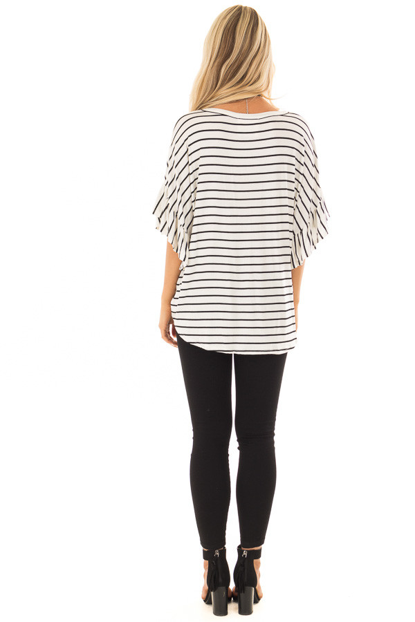 Black and Off White Striped Top with Front Tie back full body