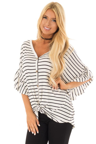 Black and Off White Striped Top with Front Tie front close up