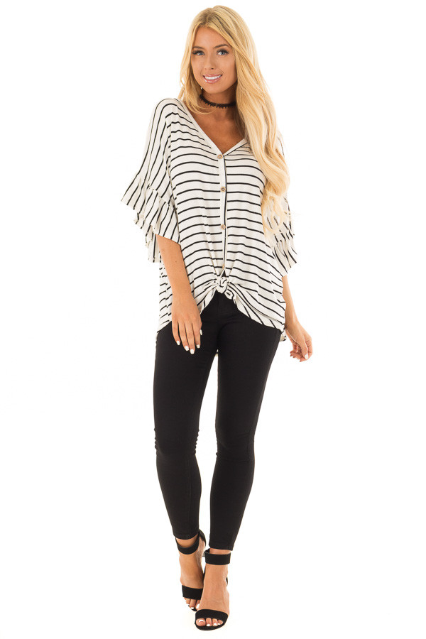 Black and Off White Striped Top with Front Tie front full body