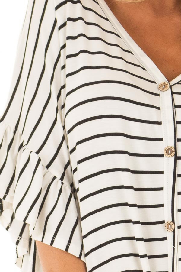 Black and Off White Striped Top with Front Tie detail