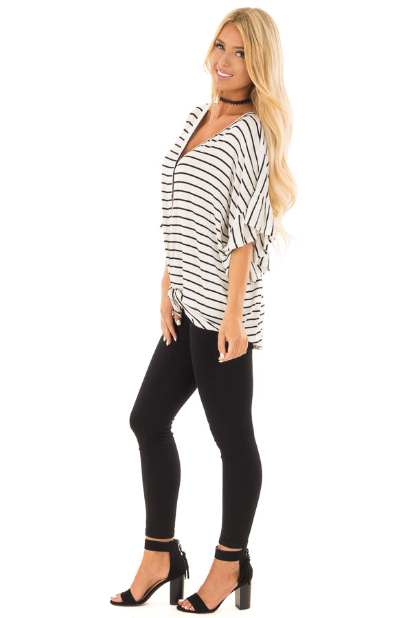 Black and Off White Striped Top with Front Tie side full body