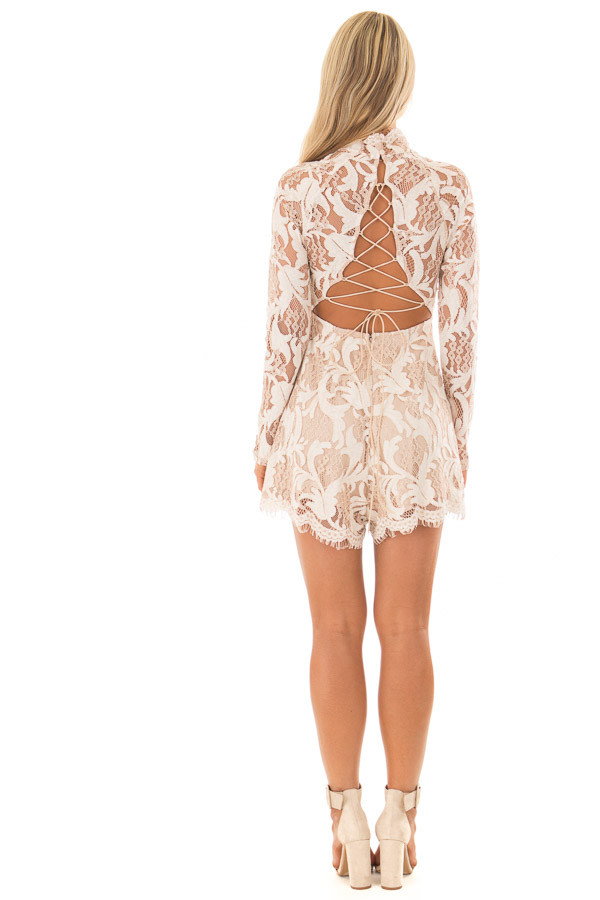 Ivory High Neck Romper with Lace up Back back full body