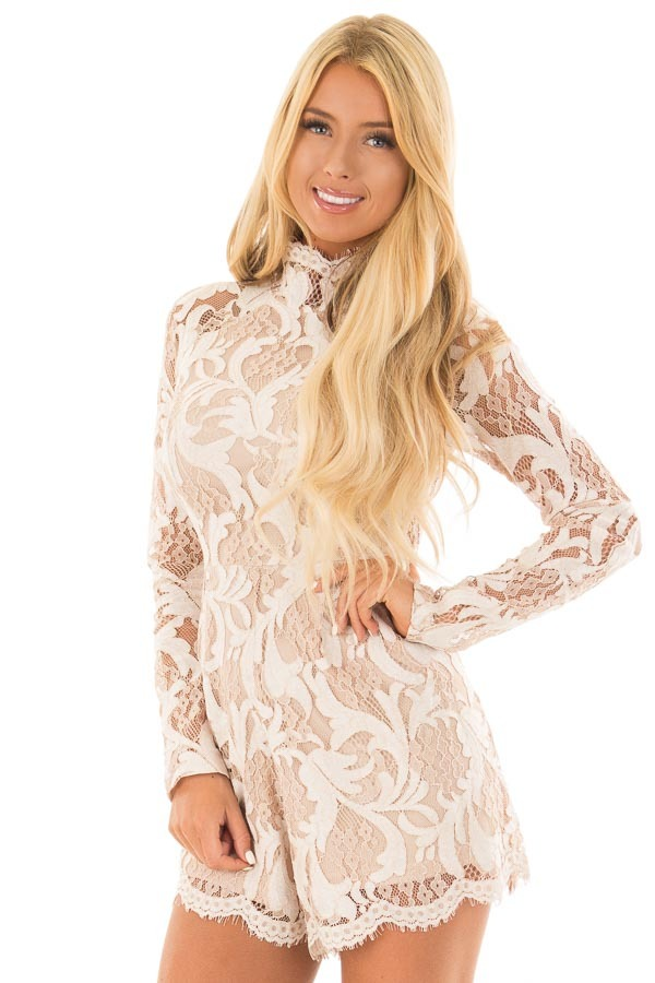 Ivory High Neck Romper with Lace up Back front close up
