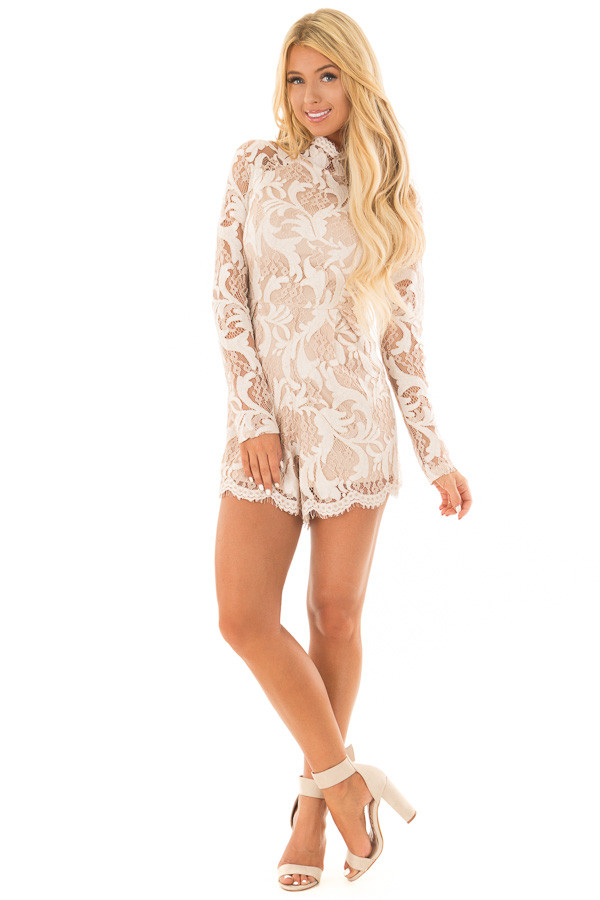 Ivory High Neck Romper with Lace up Back front full body