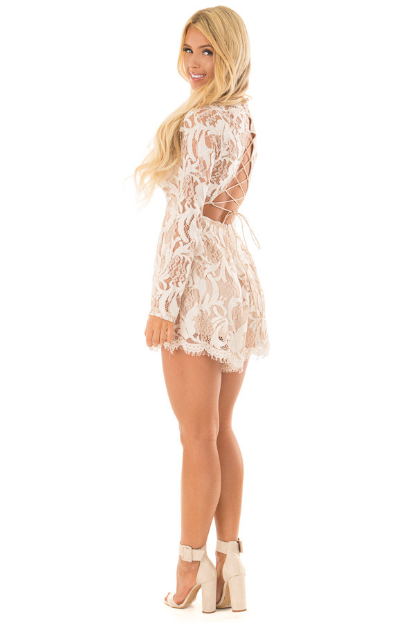 Ivory High Neck Romper with Lace up Back back side full body