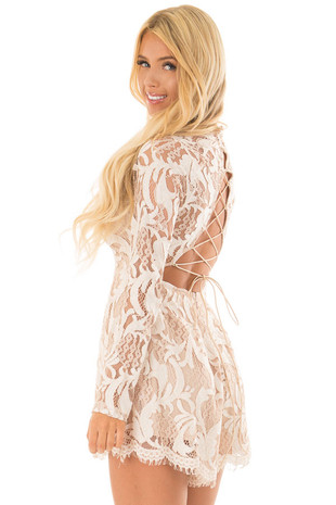 Ivory High Neck Romper with Lace up Back back side close up