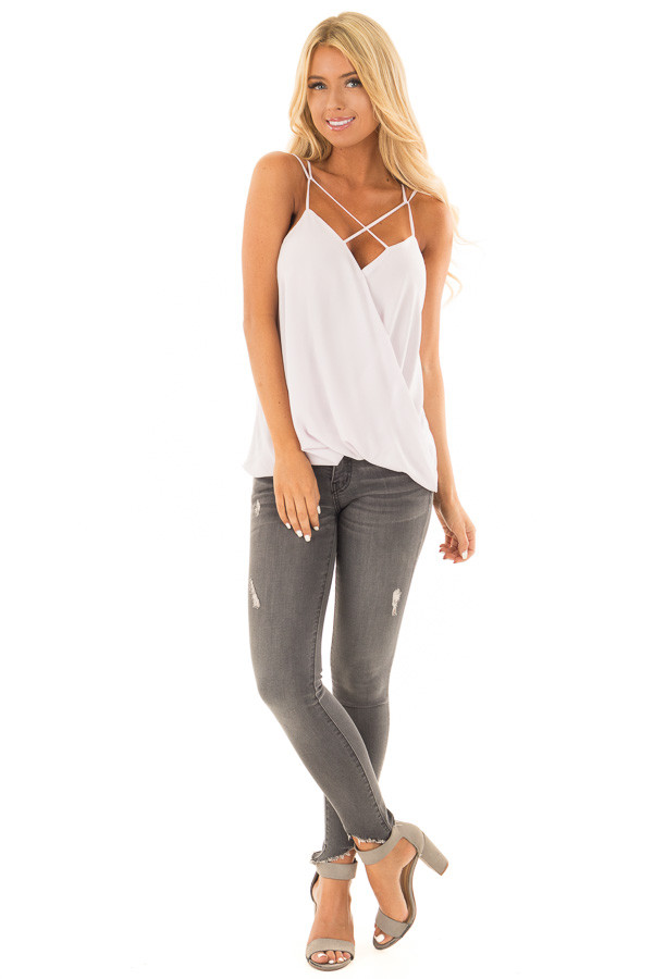 Pearl Surplice Top with X Neckline front full body