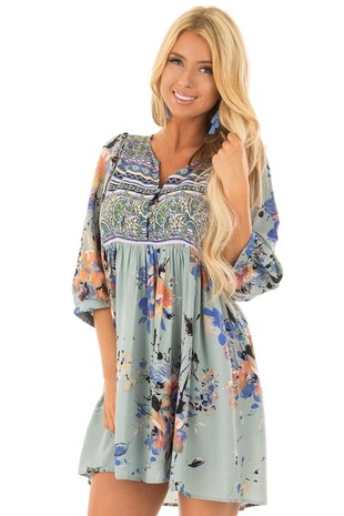 Sage V Neck Floral Print Peasant Dress front close up