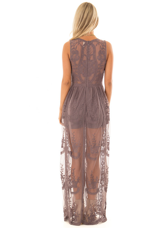 Midnight Lace Maxi Dress with Plunging V Neckline back full body