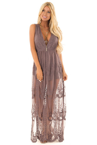 Midnight Lace Maxi Dress with Plunging V Neckline front full body