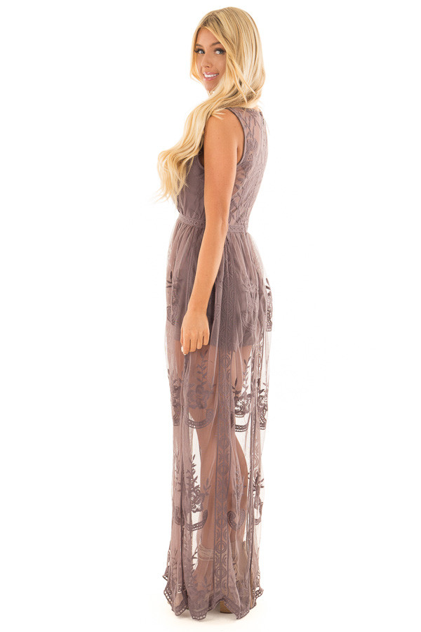 Midnight Lace Maxi Dress with Plunging V Neckline side full body