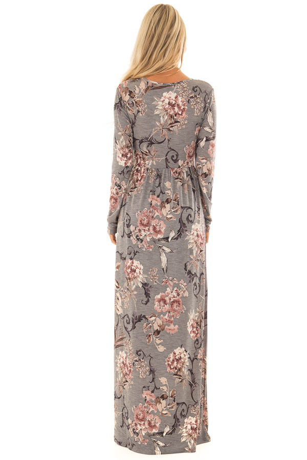 Dusty Sage Floral Print Long Sleeve Maxi Dress with Pockets back full body
