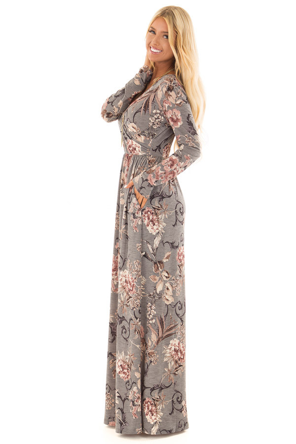 Dusty Sage Floral Print Long Sleeve Maxi Dress with Pockets side full body