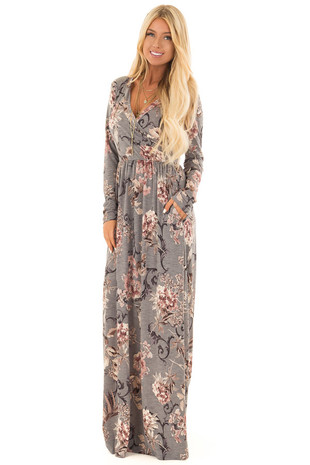 Dusty Sage Floral Print Long Sleeve Maxi Dress with Pockets front full body