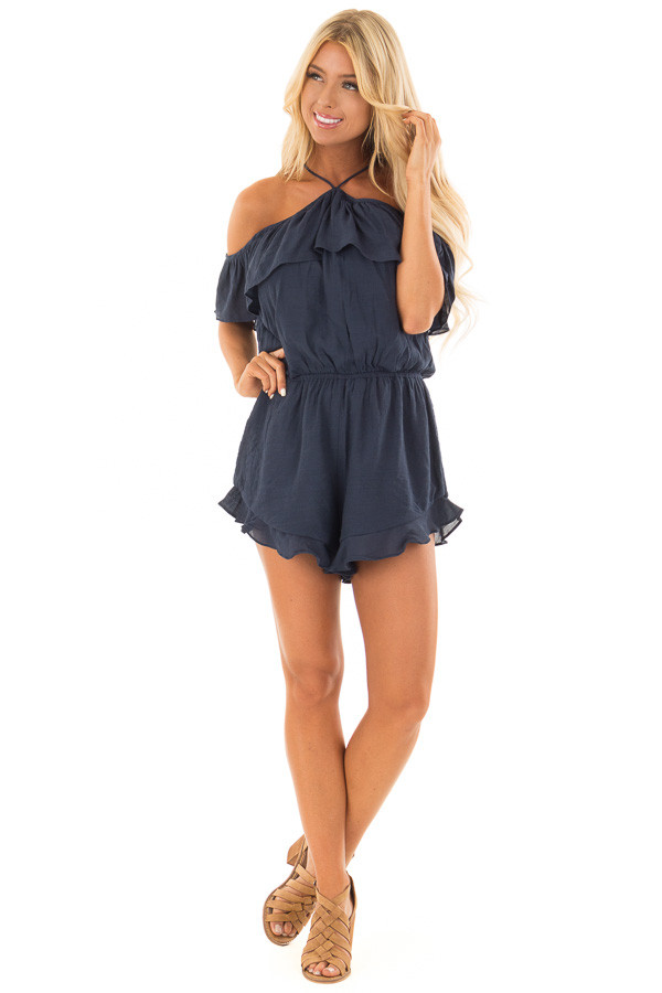 Navy Halter Romper with Ruffle Overlay Detail front full body