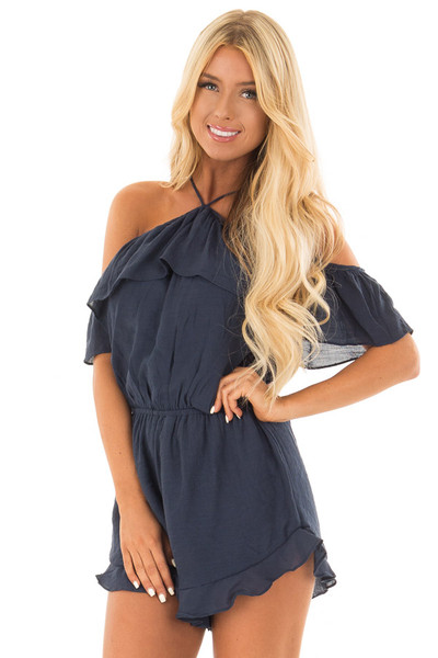 Navy Halter Romper with Ruffle Overlay Detail front close up