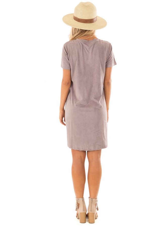 Dusty Lavender Super Soft Faux Suede Tee Shirt Dress back full body