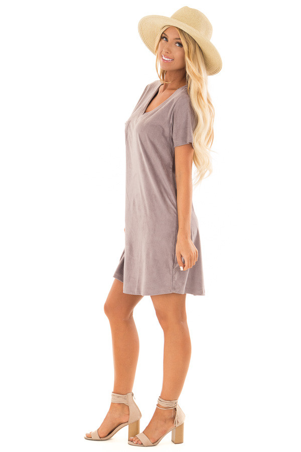 Dusty Lavender Super Soft Faux Suede Tee Shirt Dress side full body