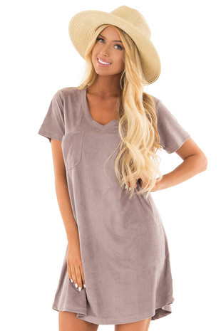 Dusty Lavender Super Soft Faux Suede Tee Shirt Dress front close up
