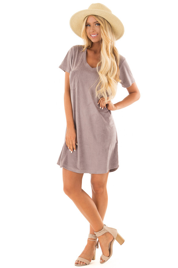 Dusty Lavender Super Soft Faux Suede Tee Shirt Dress front full body