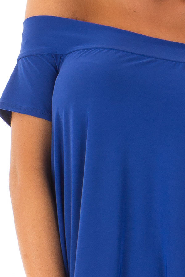 Royal Blue Hi Low Off the Shoulder Slinky Dress detail