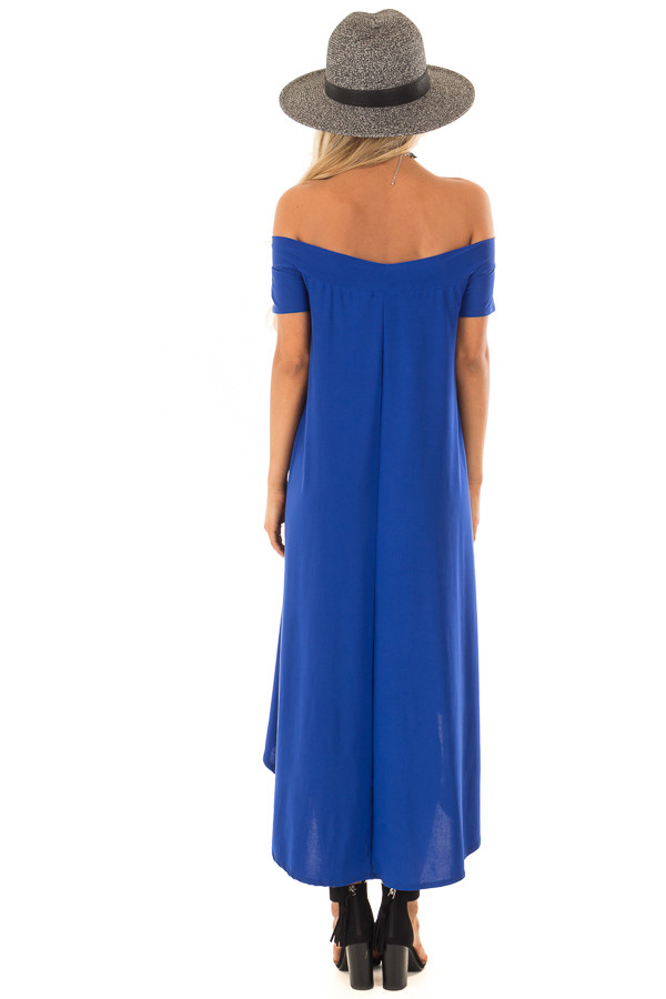 Royal Blue Hi Low Off the Shoulder Slinky Dress back full body