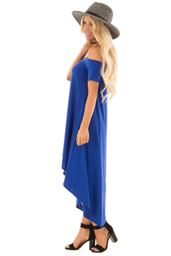 Royal Blue Hi Low Off the Shoulder Slinky Dress side full body