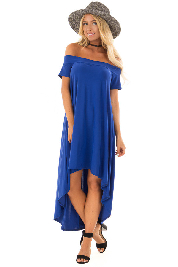 Royal Blue Hi Low Off the Shoulder Slinky Dress front full body