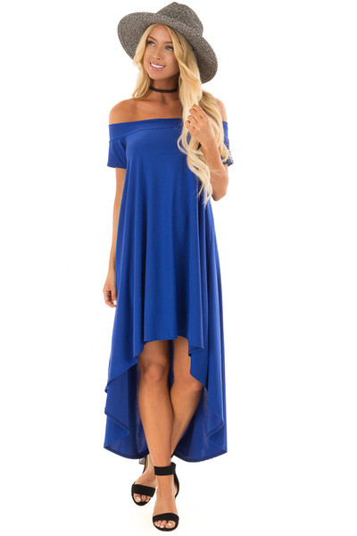 Royal Blue Hi Low Off the Shoulder Slinky Dress front close up
