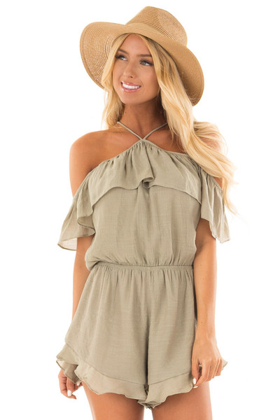 Light Olive Halter Romper with Ruffle Overlay Detail front close up