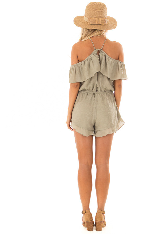 Light Olive Halter Romper with Ruffle Overlay Detail back full body