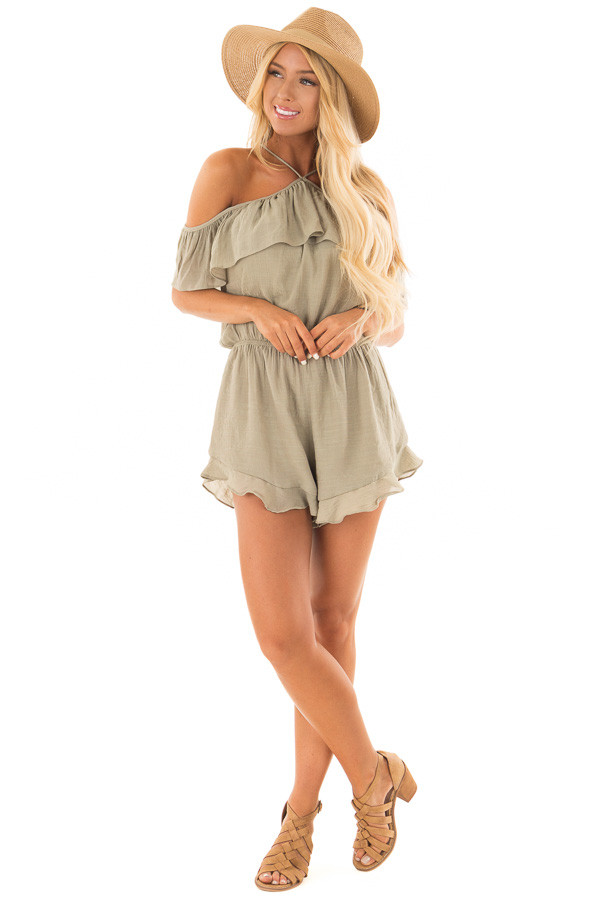 Light Olive Halter Romper with Ruffle Overlay Detail front full body