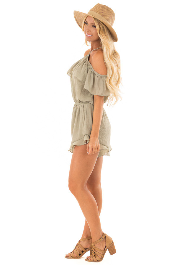 Light Olive Halter Romper with Ruffle Overlay Detail side full body